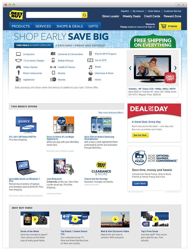 Best Buy Homepage Holiday 2012