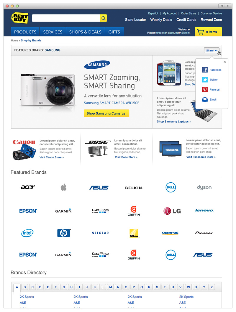 Best Buy - Featured Brand page